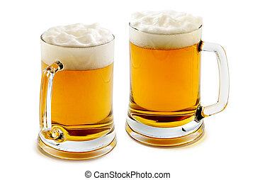dos, jarras, encantador, ámbar, cerveza