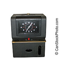 Time Clock - This is a picture of a black, wall mounted time...