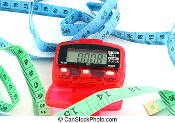 Pedometer with tape measures - Close up of a Pedometer and 2...