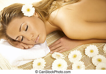 Spa Relaxing V - Portrait of Fresh and Beautiful blond woman...