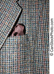 Tweed Jacket - Tweed wool jacket with a brown hankerchief.