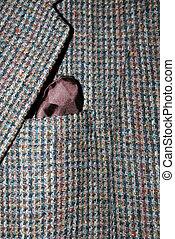 Tweed Jacket - Tweed wool jacket with a brown hankerchief.