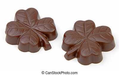 Clover chocolates isolated over white background.