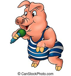 Pig with microphone - High detailed illustration.