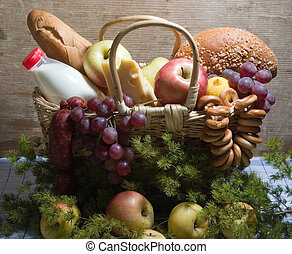 Basket with food - basket with food - apples, cheese, milk,...