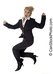 jump - young business women success jumping on white