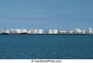 Harbour with storage tanks