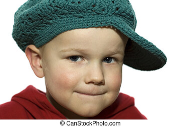 Little Boy with Hat 1 - Cute picture of a little 3 year old...
