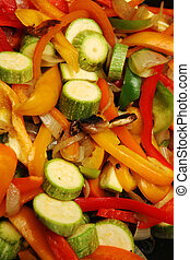 Vegetable stir-fry - A vegetable stir-fry in a wok, with...