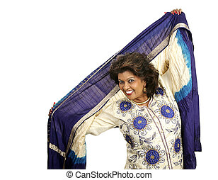 Indian Dancer - A beautiful woman dances in traditional...