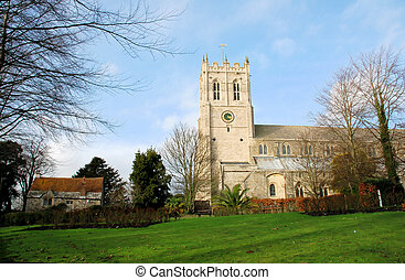 Priory in Winter - Christchurch Priory in dorset on a sunny...