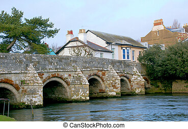 Old Town Bridge - Old town river bridge in Christchuch...