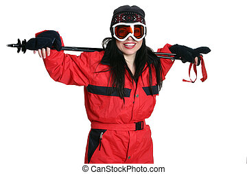 Woman in ski gear - Woman in ski clothing resting arms on...