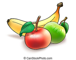 Fruit diet - Illustration of banana and two apples collected...