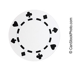 White Poker Chip - A white poker chip isolated on a white...