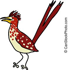 roadrunner isolated on white drawn in toddler art style