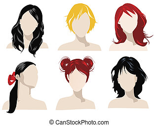 hair styles - illustration of female hair styles with...