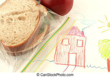school lunch - whole wheat sandwich and apple (a healthy...
