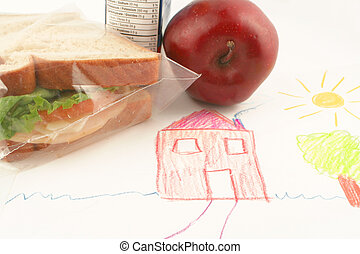 school lunch - whole wheat sandwich, apple and juice a...