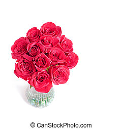 Pink Roses - A vase of beautiful deep pink roses on a white...