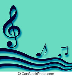music notes on teal - blue 3d music notes on blank teal note...