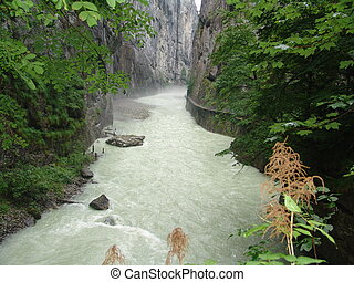 Aare River Gorge - A view inside the Aare River Gorge in...