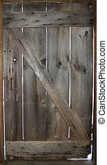 Z Door - Old barn door shot from the inside on a cold winter...