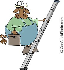 Cow On A Ladder - This illustration depicts a cow in...