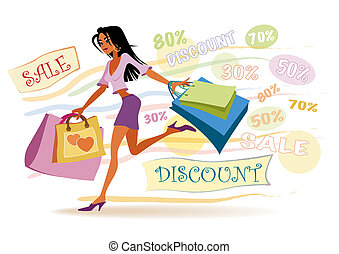 Shopping girl - Illustration of girl with shopping bags on...