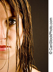 Young woman with wet hair - A young woman with wet hair...
