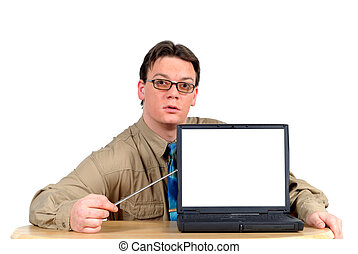 Businessman with laptop, powerpoint presentation - Young...