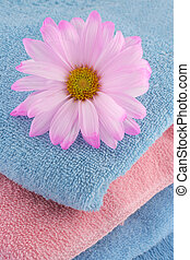 towels and daisy - an abstract of pink and blue towels with...
