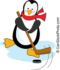 Penguin Hockey - Penguin playing hockey with stick and puck