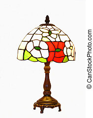 Tiffany lamp 50971 - An tiffany lamp with wood stand on...