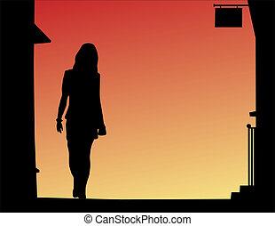 Streetwalker - Design of female silhouette walking down a...