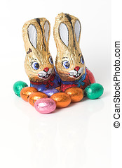 Chocolate easter bunnies - Two easter bunnies made of...
