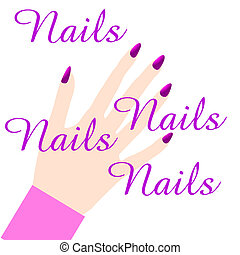 pink manicured nails - pink manicure sign illustration on...