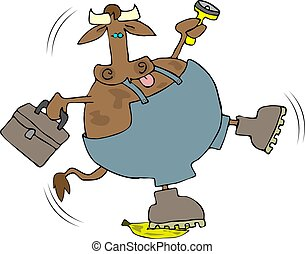 Cow Slip - This illustration depicts a cow in work clothes...