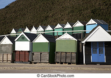 beach huts at durley chine bournemouth dorset england uk...