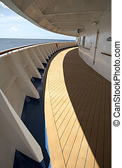 cruise ship deck - view of an empty cruise ship deck...