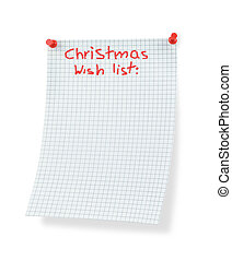 christmas wish list isolated on white