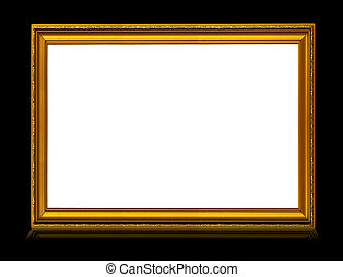golden frame with reflection isolated on deep black...