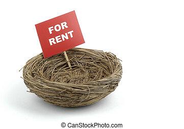 Bird Nest - Bird nest with a for rent sign.