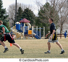 Football in the Park - Young men playing flag football in a...