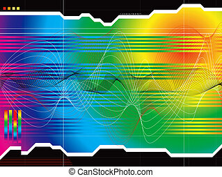 space outlook rainbow - A rainbow data graph with wavy lines...