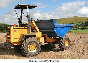 Dumper Truck - Dumper truck standing idle rural countryside.