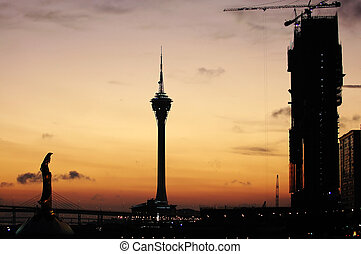 Typical landmark and constructing casino, Macau - The sunset...