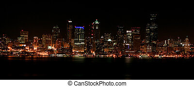 Seattle downtown at night - Nighttime view of Seattle\\\'s...