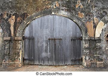 wooden garage door old town San Juan Puerto Rico Greater...