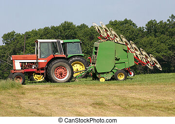 Tractors - two field tractors with hay rakes and seeder